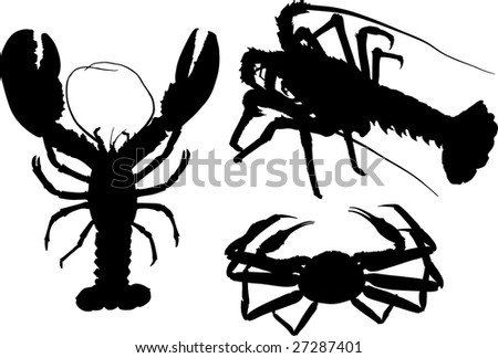 Some high-detailed silhouettes of crawfish and crab