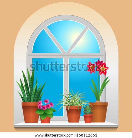 Some houseplants on window. View inside room.  - stock vector