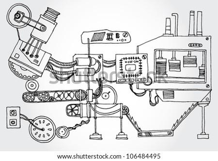 Some Mechanism Hand Darwn - stock vector