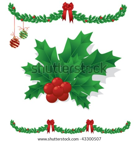 Some mistletoe, garland, hanging ornaments, and red holiday bows. - stock vector