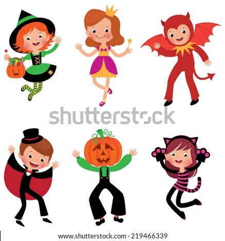 Some of the children characters in traditional Halloween costumes/Children in Halloween costumes/A set of characters in Halloween costumes on white background - stock vector