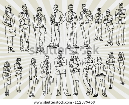 Some Office People Hand Drawn - stock vector