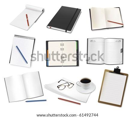Some office supplies. Vector. - stock vector