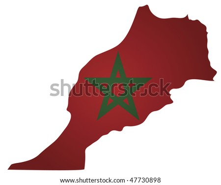 some old vintage map with flag of morocco