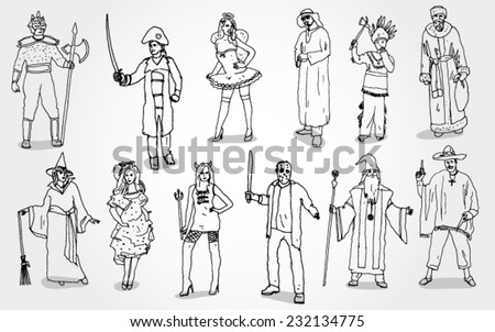 Some People in Different Mascarade Costumes - stock vector
