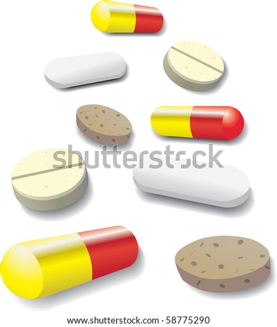 some pills and tablets - illustration - stock vector