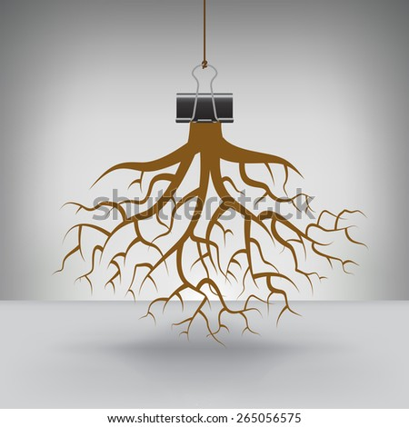 Some Roots Hung by a Binder Clip - stock vector