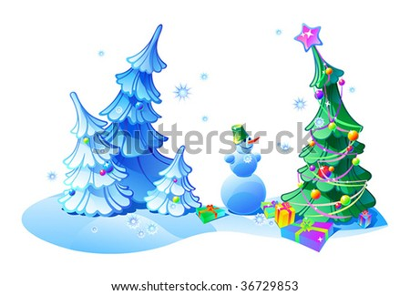 Some vector objects- firtrees, christmas tree with christmas decorations, snowman and gifts in winter forest. - stock vector