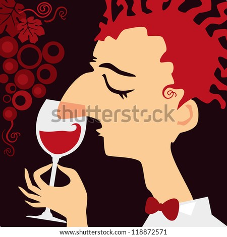Sommelier. Young man ho test red wine. - stock vector