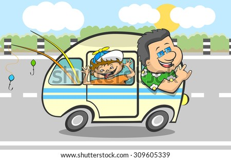 Son And Father Going To Fishing By Car. Vector illustration.
