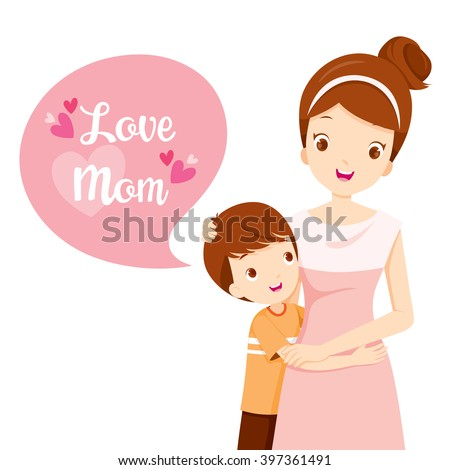 Son Hugging His Mother, Mother's Day, Embracing, Love, Children - stock vector