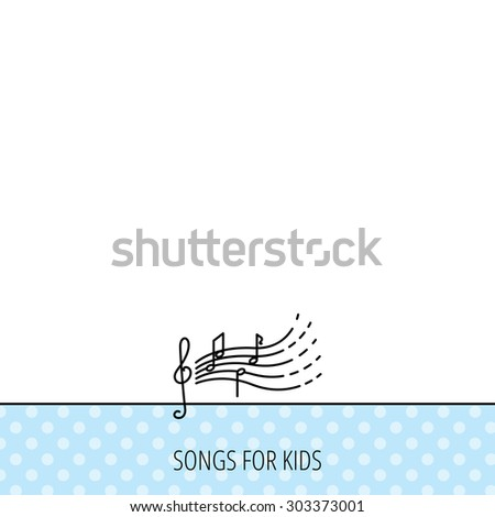 Songs for kids icon. Musical notes, melody sign. G-clef symbol. Circles seamless pattern. Background with icon. Vector - stock vector