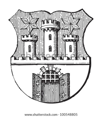 Sopron coat of arms (city in Hungary ) / vintage illustration from Meyers Konversations-Lexikon 1897 - stock vector