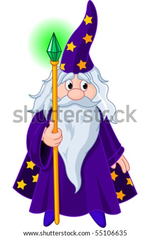 Sorcerer wizard magician with staff - stock vector