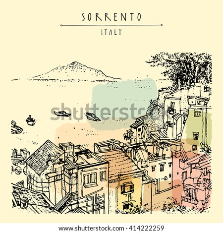 Sorrento, Italy, Europe. Above view. Vesuvio volcano, trees, sea. Sketchy line art. Artistic illustration drawing. Hand lettering. Touristic postcard poster template, book illustration in vector
