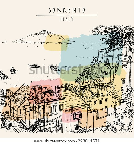 Sorrento, near Naples, Italy, Europe. Vesuvio volcano, sea, roofs. Historical buildings. Line art vector illustration. Above view. Travel sketchy drawing, hand lettering. Touristic postcard template
