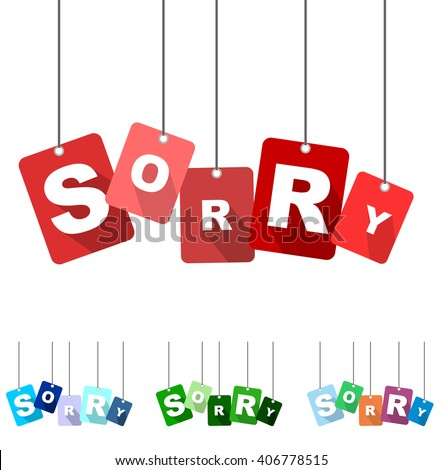 sorry, red vector sorry, flat tag sorry, set tags sorry, element sorry, sign sorry, design sorry, background sorry, illustration sorry, picture sorry, sorry eps10 - stock vector