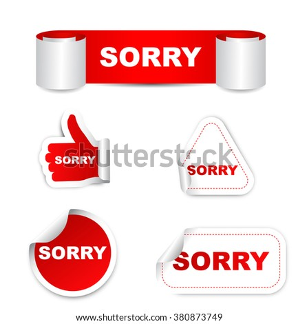 sorry, red vector sorry, red sticker sorry, set stickers sorry, element sorry, sign sorry, design sorry, picture sorry, sorry eps10 - stock vector