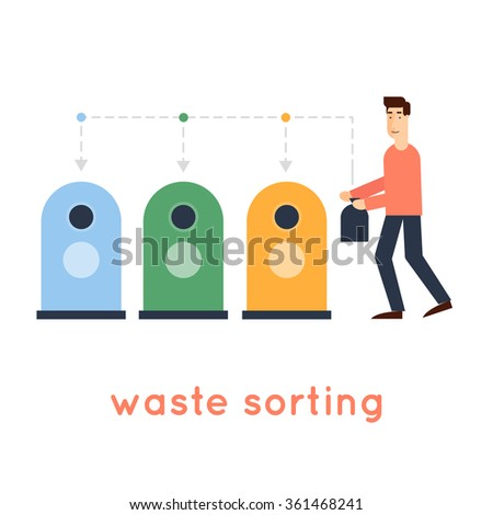 Sorting garbage man throwing garbage into the container environment on an isolated background. Flat design vector illustration. - stock vector