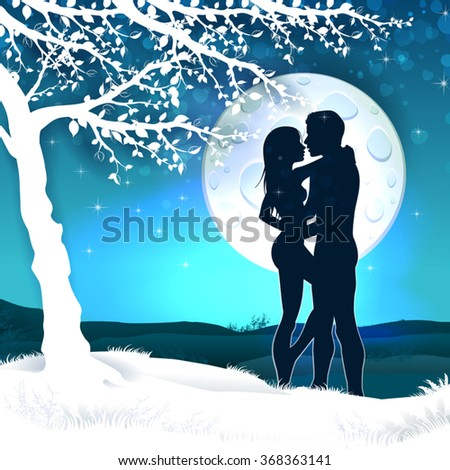 Soulmate couple silhouette with sunrise and vertical landscape-transparency blending effects and gradient mesh-EPS 