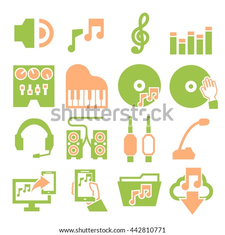 sound and music icon set - stock vector