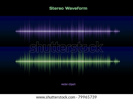 Sound and music stereo wave - stock vector