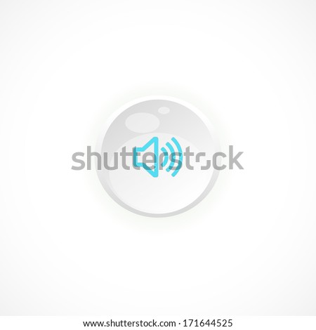 Sound, Button, icon on a white background for your design, vector illustration. Speaker Volume icon on button - stock vector
