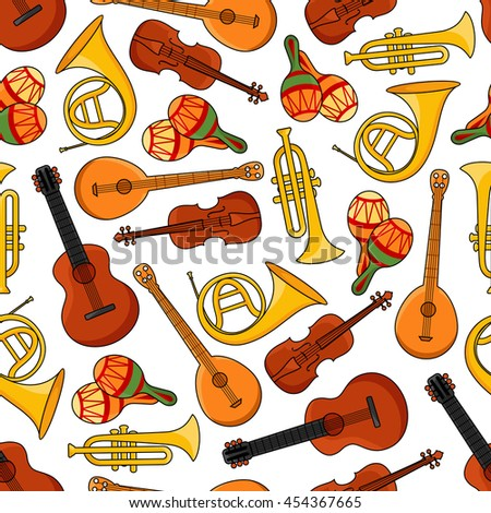 Sound equipment or music instruments seamless pattern with banjo and trumpet, saxophone and guitar, maracas or rumba shakers isolated on white - stock vector