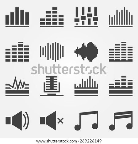 Sound icons set - black vector music soundwave symbols or logos - stock vector