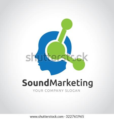 Sound Marketing,Marketing Logo,head logo,Human logo,Vector logo template - stock vector