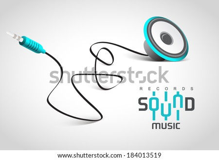 sound music emblem - audio speaker cable connector curve bend - stock vector