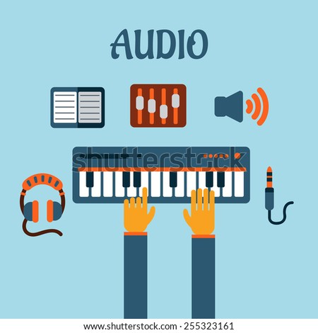 Sound recording flat concept with person playing an electronic keyboard with earphones, volume sliders, megaphone, tablet or MP3 player and a sound jack or plug - stock vector