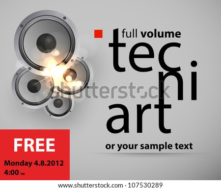 Sound Speaker, decoration background, easy editable - stock vector