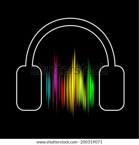 Sound wave abstract background with headphones, vector illustration - stock vector