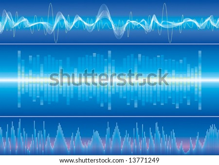 Sound wave background, vector illustration with layers file. - stock vector