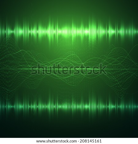Sound wave. Digital oscilloscope and graphic equalizer. Vector illustration. - stock vector