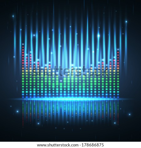 Sound wave graphic equalizer. Vector illustration. - stock vector