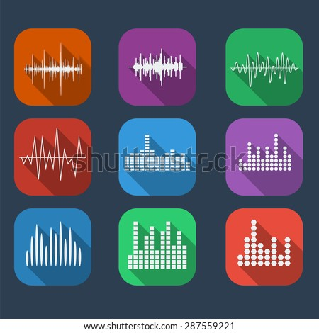 Sound Wave Icon Set Color flat style. Music soundwave icons set. Equalize audio and stereo sound, wave, melody. Vector illustration. - stock vector