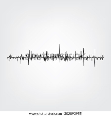 Sound wave on grey background. Audio equalizer technology, pulse musical. Vector illustration. Sound wave  - stock vector