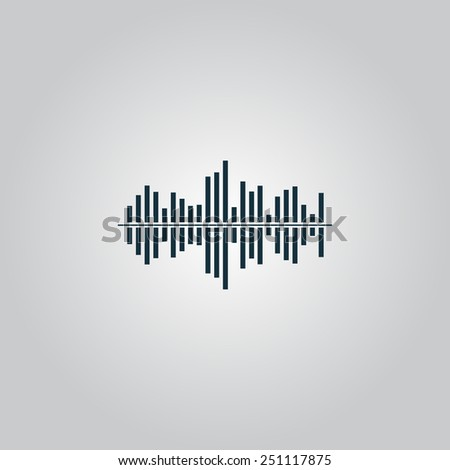 Sound waveequalizer music. Flat web icon, sign or button isolated on grey background. Collection modern trend concept design style vector illustration symbol - stock vector