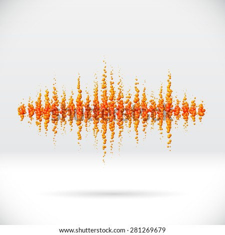 Sound waveform made of scattered orange soda bubbles - stock vector