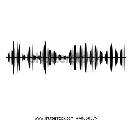 Sound waves in black and white isolated icon, vector illustration. - stock vector