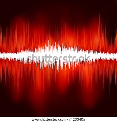 Sound waves on black background. EPS 8 vector file included - stock vector