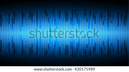 Sound waves oscillating dark blue light, Wave Abstract technology background. Vector wave.