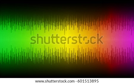 Sound waves oscillating dark green yellow purple light, Abstract technology background. Vector.