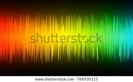 Sound waves oscillating dark red yellow green blue light, Abstract technology background. Vector.
