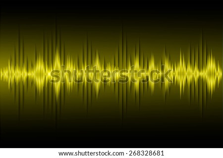 Sound waves oscillating dark yellow light, Abstract technology background. Vector.