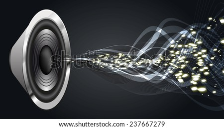 Sound waves oscillating glow black light, Abstract technology background. Vector. speakers. - stock vector