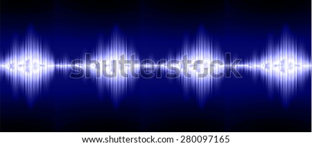 Sound waves oscillating glow blue light, Abstract technology background. Vector.