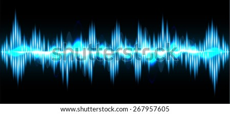 Sound waves oscillating glow blue light, Abstract technology background. Vector. black background.